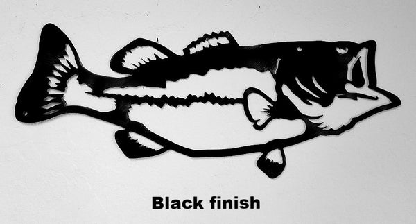 Bass metal wall art silhouette. Bass Metal Wall Art Decor. Bass or Fish Wildlife metal wall hanging horseflymetalart.com