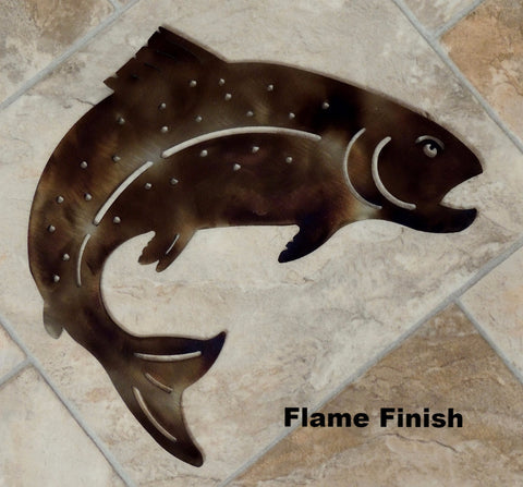 Trout metal wall art silhouette.Trout metal wall art hanging horseflymetalart.com