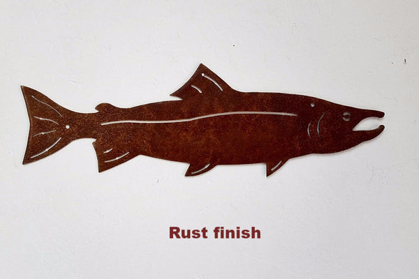 Salmon metal wall hanging. Salmon Wildlife wall hanging horseflymetalart.com