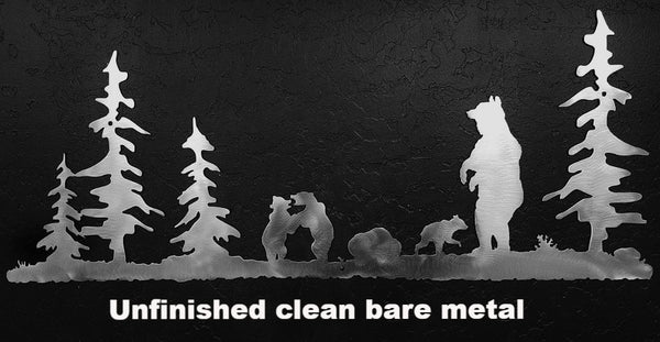 Bear metal wall art. Bear and Cubs metal wall art