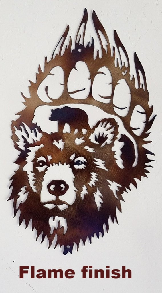 Bear Paw scene metal wall art. metal Bear Paw wall hanging
