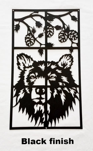 Black Bear metal wall art. Bear Wildlife scene metal wall art