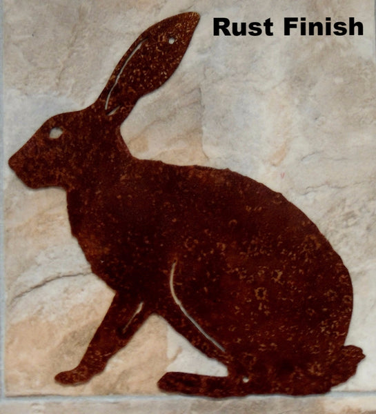 Metal Jackrabbit wall hanging. Rabbit metal wall hanging.  horseflymetalart.com