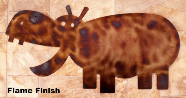 Metal Hippo wall art. Hippo wall hanging silhouette. horseflymetalart.com