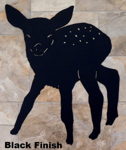 Metal Fawn silhouette wall art. Wildlife Fawn wall hanging. horseflymetalart.com
