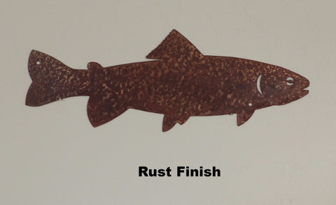 Trout metal wall art silhouette. Trout metal wall art hanging. horseflymetalart.com