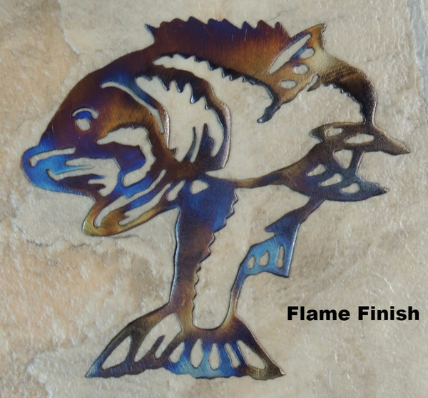 Bass or Fish metal wall art. Bass Wildlife Wall Hanging.  horseflymetalart.com