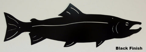 Salmon metal wall art. Salmon wall hanging. Fish wall art horseflymetalart.com