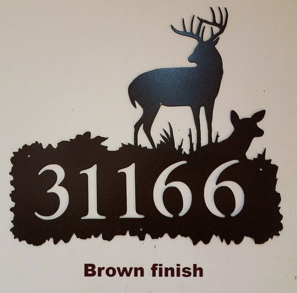 Deer Metal Art Custom House Number. Custom Buck & Doe Address Sign