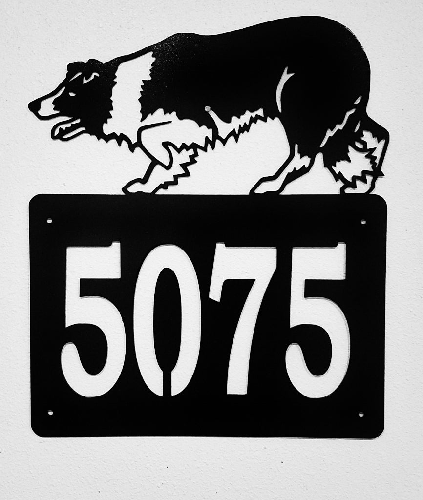 Metal Border Collie House Number Border Collie Address Sign Dog House Number