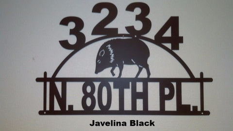 Javelina metal House Number Metal Javelina Address Sign Pig Address Sign