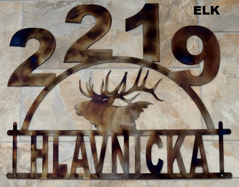 Elk metal House Number Metal Elk Address Sign