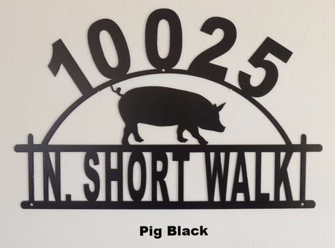 Pig Arched House Number. Hog Address Sign. Metal Pig House Number