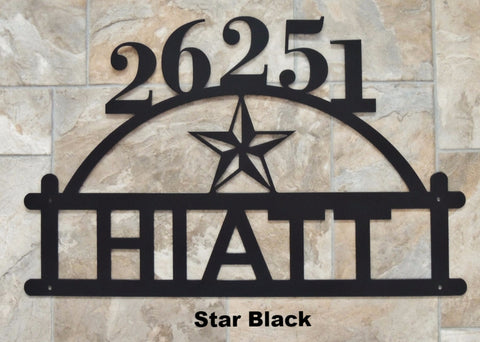 Texas Star Arched Metal House Number Address Sign  horseflymetalart.com