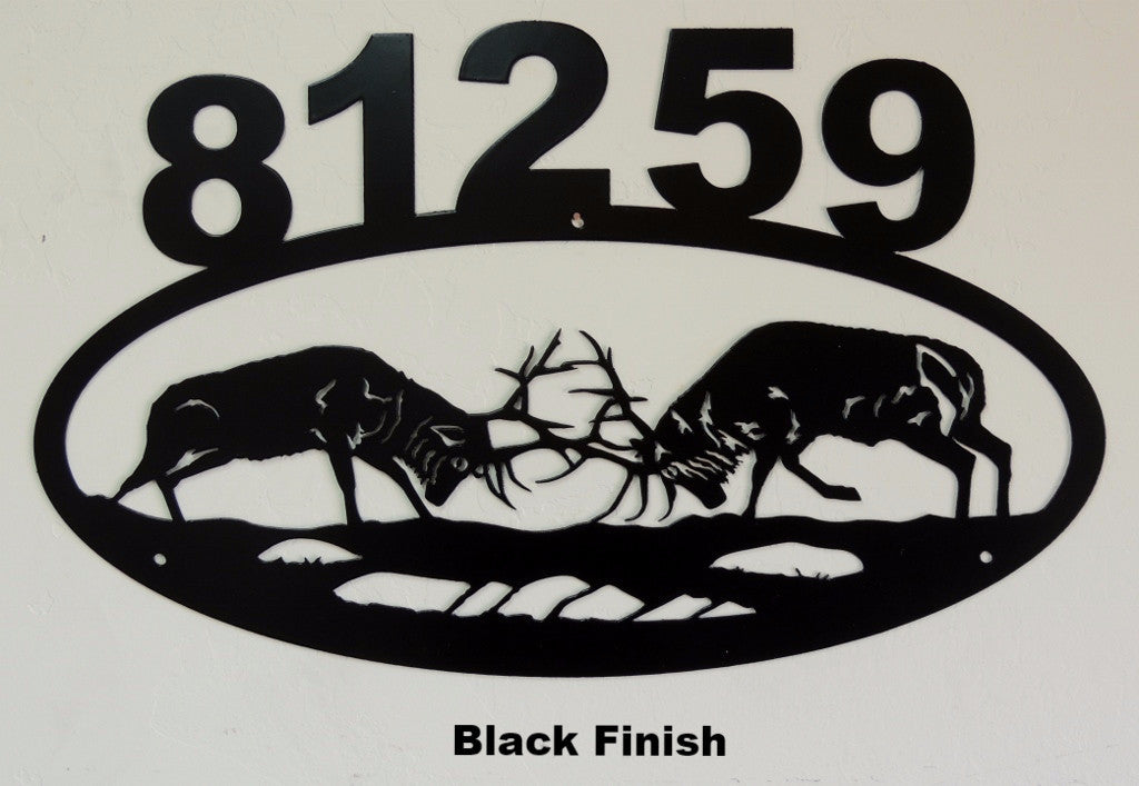 Metal Elk House Number or Address Sign Silhouette horseflymetalart.com
