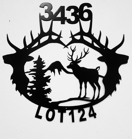 Elk Metal House Number. Elk Metal Address Sign