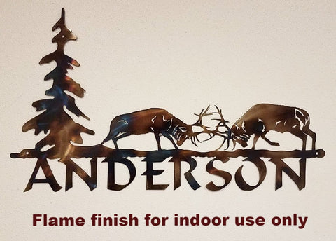 Elk Metal Name Sign. Custom Elk Metal House Number