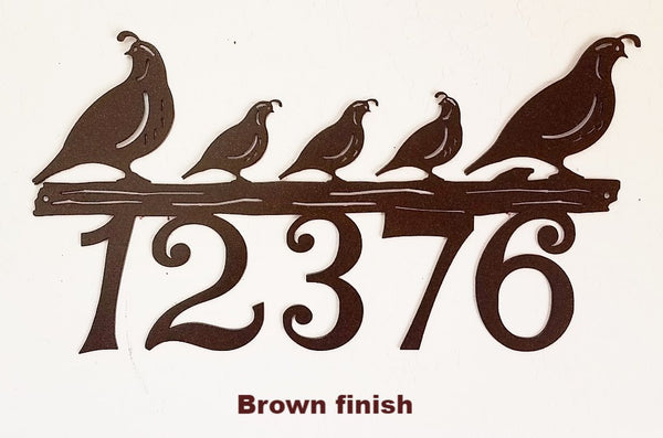 Metal Quail House Number Quail metal Address Sign