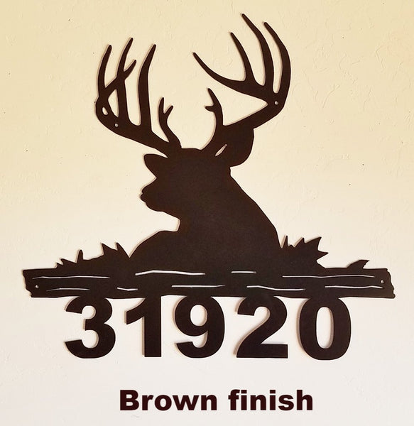 Metal Deer House Number  Deer metal art Address Sign