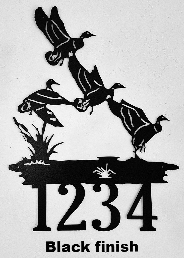 Ducks in Flight Custom House Number. flying Ducks Address Sign