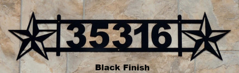 Custom metal Texas Star Address Sign. Texas Star metal House Number. horseflymetalart.com