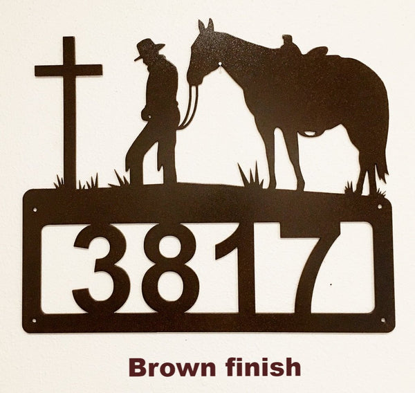 Cowboy and Cross metal House Number Praying Cowboy and Cross metal Address Sign