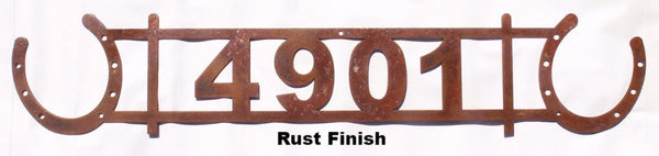 Metal Horseshoe Address Sign. Horseshoe House Number horseflymetalart.com