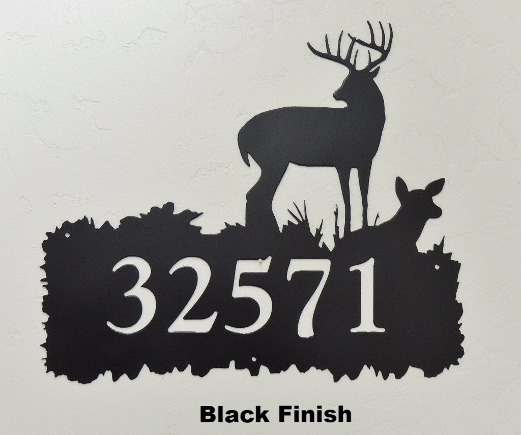 Deer metal Address Sign or House Number horseflymetalart.com