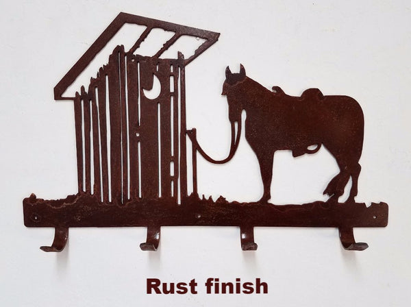 Horse & Outhouse metal towel rack horseflymetalart.com
