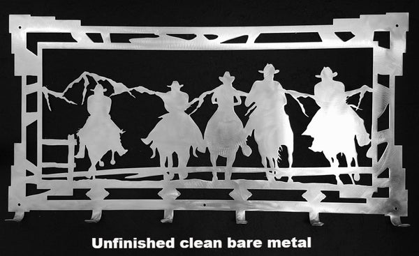 Cowboy and Horse coat rack Cowboy Coat Rack Metal Wall Art Silhouette