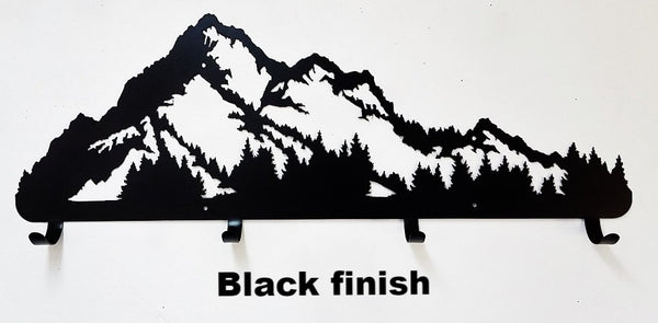 Mountain Coat Rack Metal Art Silhouette. Mountain Coat Rack Wall Art