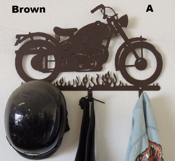 Custom Metal Motorcycle Helmet Holder or Rack horseflymetalart.com