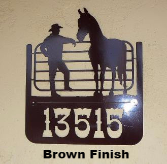 Cowboy & Horse metal House Number or Address Sign  horseflymetalart.com