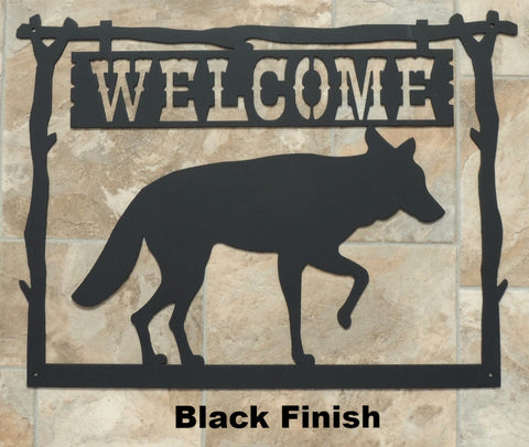 Welcome Sign Coyote  horseflymetalart.com