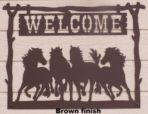 Metal Art Horse Welcome Sign. Horse Welcome Sign Wall Art. Horse Welcome Sign Wall hanging.