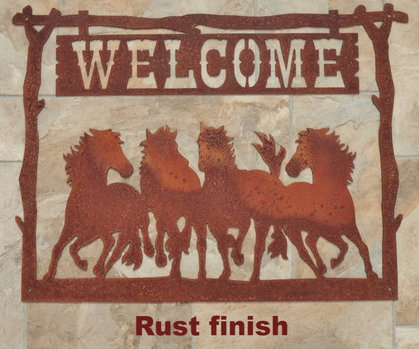 Horse Welcome Metal Wall Art Sign  horseflymetal.com