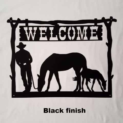 Metal Welcome Sign Mare & Foal Wall Art. Metal Art Cowboy Welcome Sign for Home, Ranch