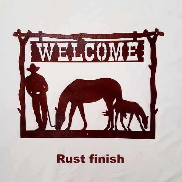 Metal Welcome Sign Cowboy and Horse Wall Art. Metal Art Cowboy Welcome Sign for Home, Ranch