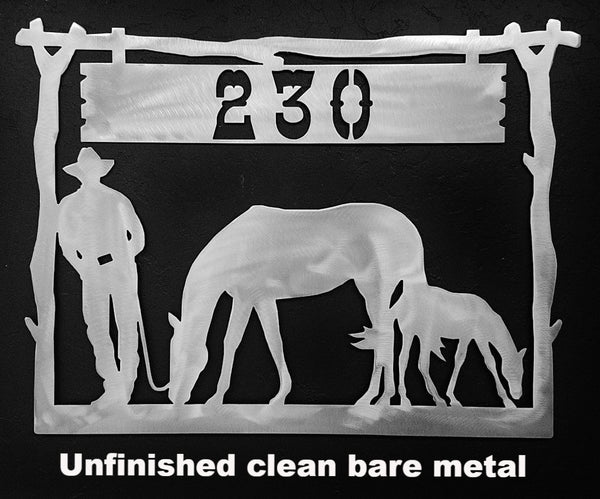 Cowboy & Horse metal Wall Art. Cowboy & Horse metal House Number or Address Sign