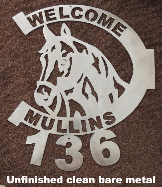 Horseshoe metal address sign. Horseshoe and Horse Metal Wall Art. Horseshoe Welcome sign