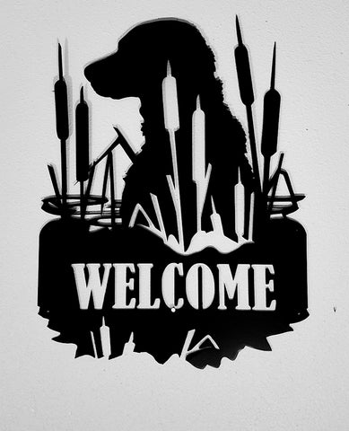 Lab Dog metal Welcome wall art Wildlife wall hanging horseflymetalart.com
