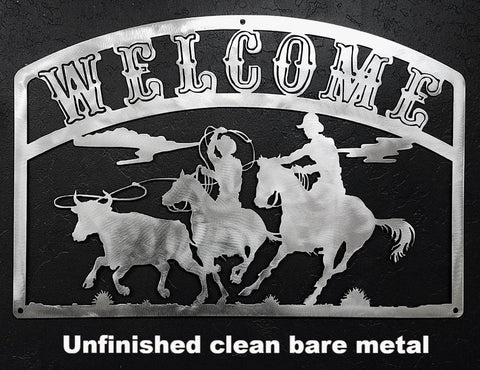 Team Ropers Metal Art Sign. Team Ropers Welcome Sign. Western wall art