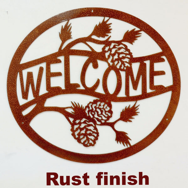Metal Welcome Pine Cone sign horseflymetalworks.com