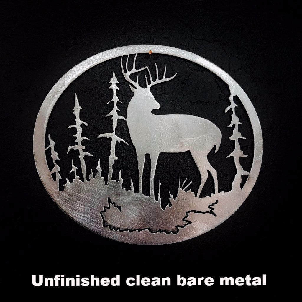 Metal Deer & Tree Wildlife wall art. Deer wall hanging  horseflymetalart.com
