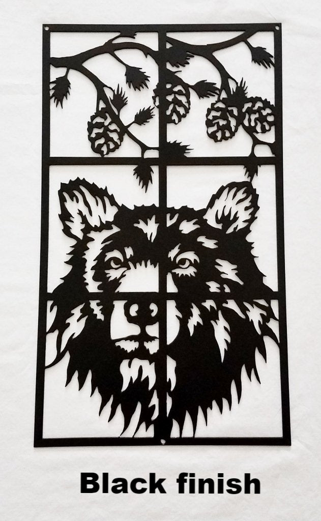 Black Bear metal wall art.  Bear metal wall hanging