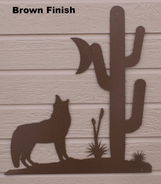 Metal Howling Coyote wall Art. Coyote metal wall hanging.