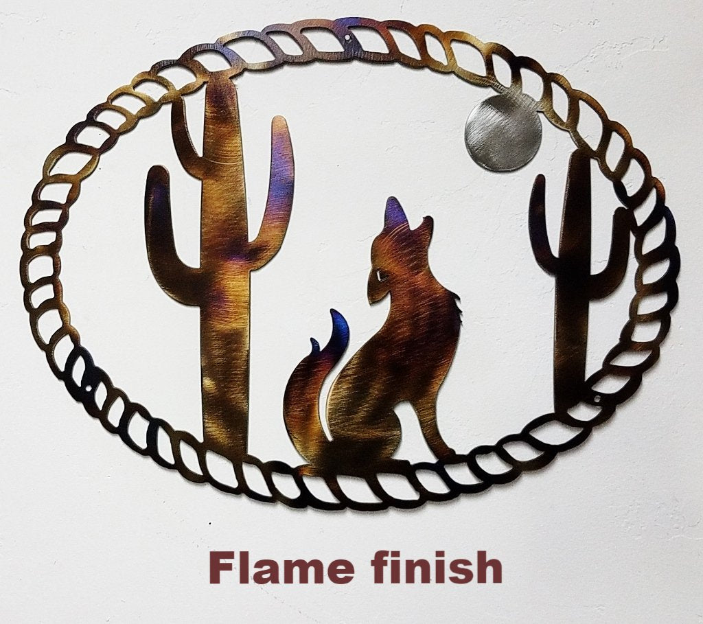 Metal Coyote and Moon wall hanging. Western Coyote and Cactus metal wall hanging silhouette