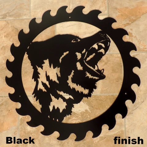 Bear Wildlife Saw Blade Wall Art Silhouette horseflymetalart.com