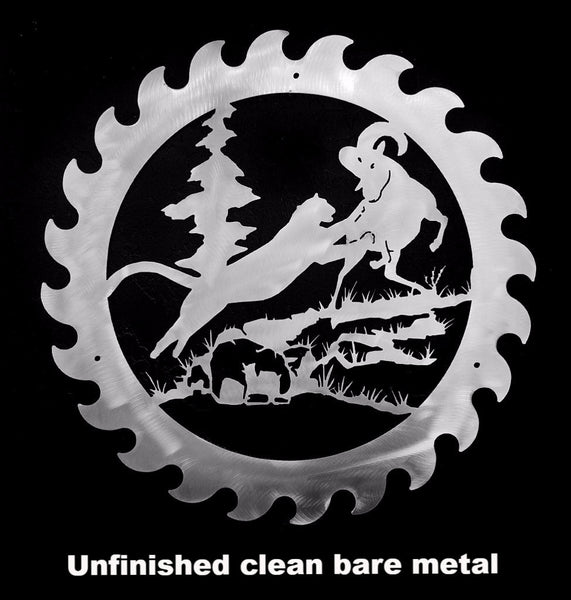 Metal Saw Blade Wildlife wall art Mountain Lion & Ram wall hanging horseflymetalart.com