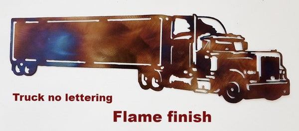 Semi Truck with trailer metal wall art. Metal Semi Truck and Trailer wall decor